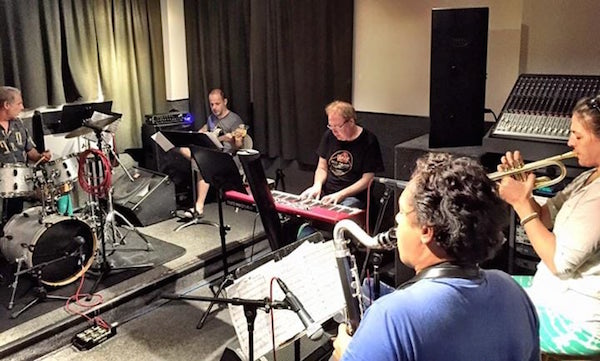 "August 2015: Jason Miles (keyboard) and Ingrid Jensen (trumpet) rehearsing at Euphoria Studios for their album, ""Kind of New."" Photo courtesy of David Sokol."