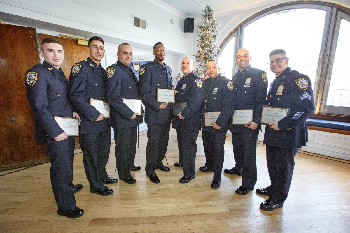 The eight honorees of this year's G.V.C.C.C. Officer of the Year awards, from left, Police Officers John Connelly, Nicholas Pastore, Thomas Sheehy, Matthew Powlett, Joseph Spector, Antonio Arroyo and Kharloz Ortiz and Sergeant Jose Morales.