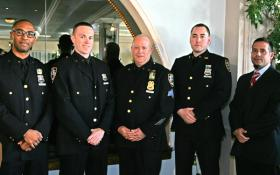 Photo by Sam Spokony Officers of the Year honored on Dec. 12, from left: Officer Sergio De La Mota, Ninth Precinct; Officer Liam Cawley, Sixth Precinct; Sergeant Michael Filomena, 10th Precinct; Officer Michael Relf, 14th Precinct; and Officer Leonardo Nimo, 13th Precinct.